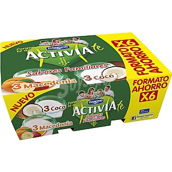 Activia Danone Yogur bifidus activia sabor 3 coco, 3 macedonia Pack 6 x 125 g - 750 g