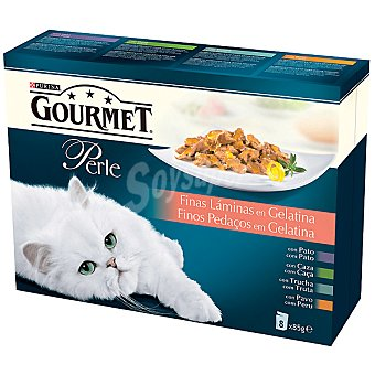 Purina Gourmet Finas láminas en gelatina para gatos Perle 8 bolsas de 85 g