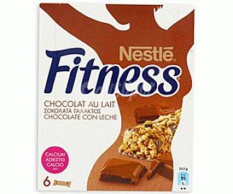 Fitness Nestlé Barritas de Cereales Chocolate con Leche Pack de 6x23,5 g