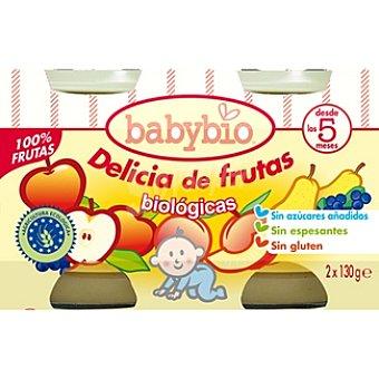 BABYBIO Delicia de frutas biológicas sin gluten pack 2 tarrina 130 g