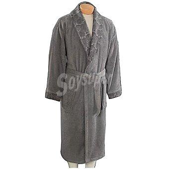 CASACTUAL Tripoli albornoz rizo americano en color gris con estampado en cuello y puños