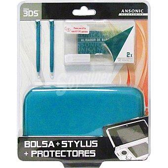 ANSONIC Pack bolsa rígida + 5 accesorios para 3DS