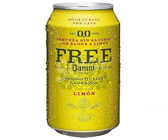 Free Damm Cerveza sin alcohol sabor limón Lata 33 cl