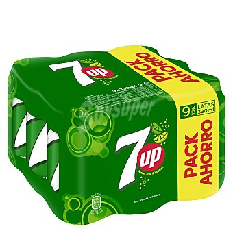 Seven up Refresco de lima limón  pack 9 latas 33 cl