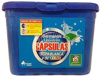 BOSQUE VERDE Detergente lavadora líquido cápsulas ropa color y blanca PAQUETE 20 LAVADOS