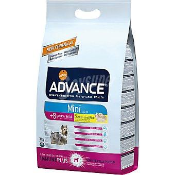 Advance Affinity Alimento de alta gama para perros de raza pequeña de + 8 años rico en pollo y arroz Mini Senior Bolsa 3 kg