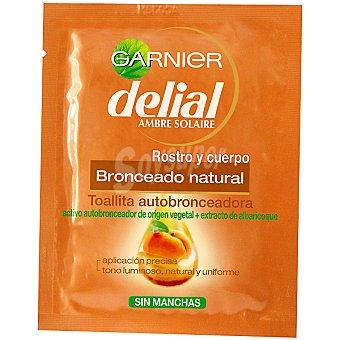 Delial Garnier Toallitas autobronceadoras rostro-cuerpo Pack 1 unidad