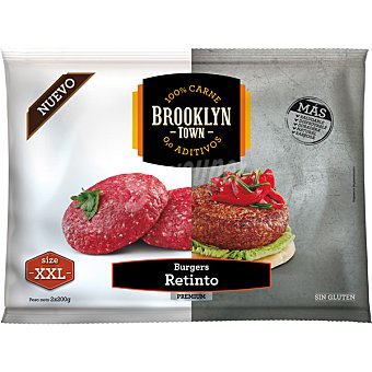 Brooklyn Town hamburguesa de retinto 100% carne sin aditivos sin gluten talla XXL 2x200g estuche 400 g estuche 400 g