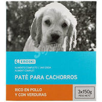 Eroski Comida perro cachorro paté rico en pollo con leche 150g 150g