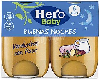 Hero Baby Buenas Noches Tarrito de verduritas con pavo a partir de 6 meses 2 x 190 g