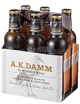 A.K. Damm Cerveza rubia ak 6 botellines de 330 cc