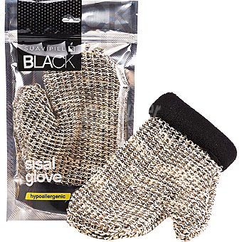 SUAVIPIEL Black Manopla de baño sisal glove Bolsa 1 unidad