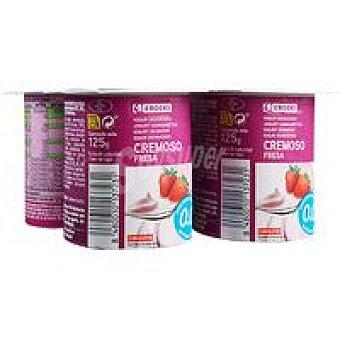 Eroski Yogur de fresa cremoso 0% Pack 4x125 g