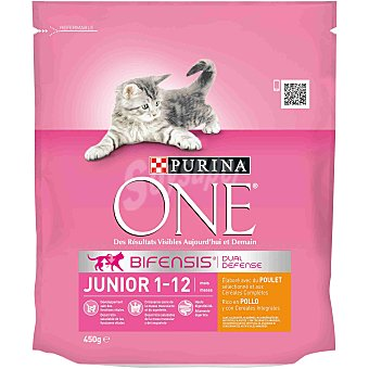 Purina One Pienso para gatos Junior Bifensis pollo y cereales integrales Bolsa 450 g