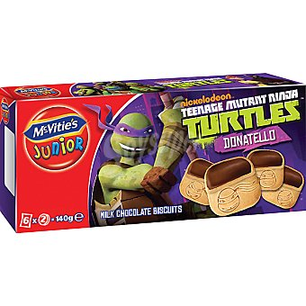 MCVITIE'S JUNIOR Ninja Donatello Galletas con chocolate paquete 140 g Paquete 140 g