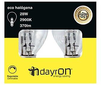 DAYRON Bombilla esférica ecohalógena 28W, casquillo E14 (fino) y luz cálida 2 unidades