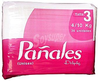 Deliplus Pañales 4-10kg Talla 3 Paquete 36 u