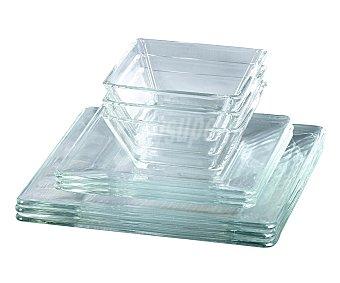 EFG Vajilla cuadrada 4 servicios, fabricada en vidrio transparente 12 unidades