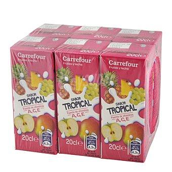 Carrefour Zumo con leche tropical 6 unidades de 20 cl