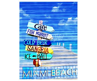 IMAGINE Cuadro de un muelle con un simpático cartel playero de Miami beach y dimensiones 60x80 centímetros 1 unidad