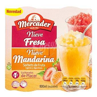 Mercader Sorbete mandarina/fresa Pack de 4x200 g
