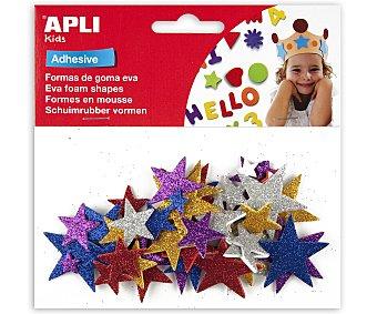 APLI Bolsa de estrellas adhesivas de goma eva con brillantina y de diferentes colores 1 unidad