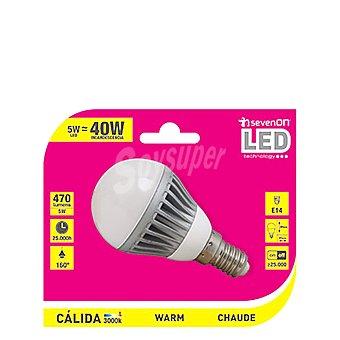 7HSevenOn Bombilla LED Smd Aluminio Esférica 5w Luz Cálida 1 ud