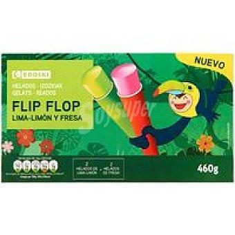 Eroski Flip flop de fresa-lima-limón Pack 4x115 g