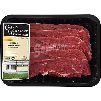 CARNS GOURMET Ternera filetes 1ª B de aguja/ espaldilla peso aproximado Bandeja 500 g