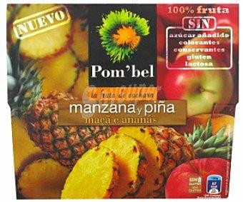 POM'BEL Puré de manzana-piña, Sin: azúcar añadido, colorantes, conservantes, gluten ni lactosa Pack 4 Unidades de 100 Gramos