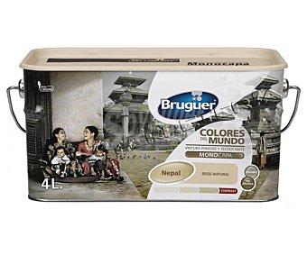 BRUGUER Pintura plástica de interior, color beige intermedio Nepal, Colores del Mundo 4 L