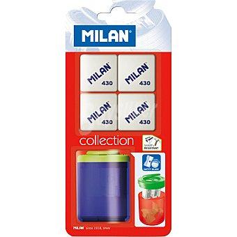 Milan Gomas y sacapuntas con deposito Pack de 4