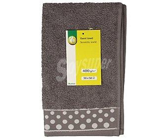 Productos Económicos Alcampo Toalla 100% algodón color gris con cenefa estampada Topos para tocador, densidad de 360 gramos/m², 30x50 centímetros 1 unidad