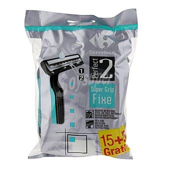 Carrefour Maquinilla desechable cabezal fijo bimaterial Pack de 15 + 5 ud.