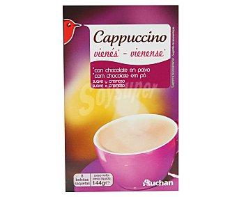 Auchan Café capuccino vienés suave y cremoso con chocolate en polvo 8 sobres