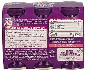 Kaiku Sin Lactosa Yogur líquido con sabor fresa y plátano Pack 6 unidades 65 ml
