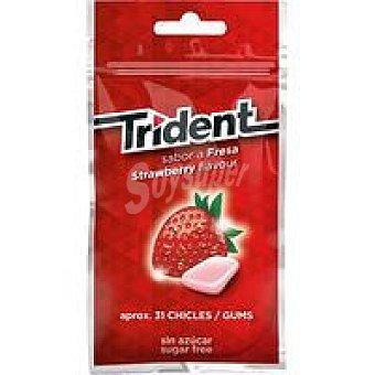 Trident Chicle de fresa sin azúcar en gragea Paquete 43 g
