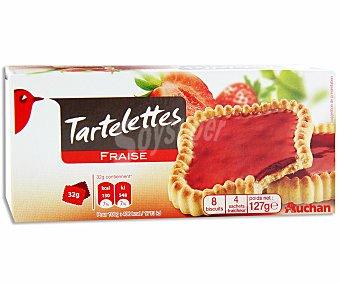 Auchan Tartaletas de galleta con relleno de fresa 127 gramos