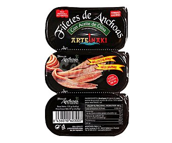 Arteiñaki Filetes de anchoas con aceite de oliva Pack de 3 unidades de 29 g
