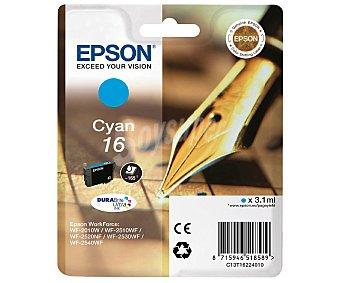 Epson Cartucho de tinta 16, cian, compatible con impresoras: workforce WF-2520NF, WF-2010W, WF-2650DWF, WF-2530WF, WF-2510WF, WF-2660DWF, WF-2540WF, WF-2630WF
