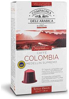 Compagnia Dell'Arabica Café Vellutato Puro Arabica Colombia Medellin ápsulas compatibles con Nespress estuche 52 g 10 c