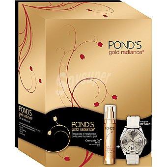 POND'S Gold Radiance Crema de día antiarrugas con micropartículas de oro dosificador 50 ml + reloj blanco de regalo 50 ml