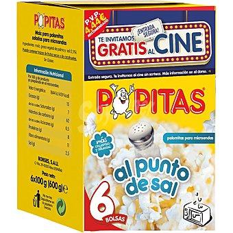 POPITAS Palomitas al punto de sal  6 bolsas de 100 g