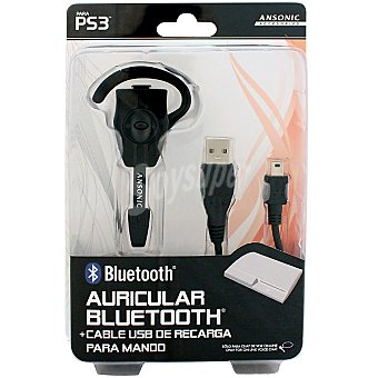 ANSONIC Auricular Bluetooth + cable USB de recarga para mando PS3