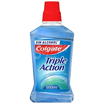 Colgate Enjuague bucal Triple Action menta fresca sin alcohol Frasco 500 ml