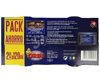 Orbe Calamares en su tinta, pack de 2 unidades de 72 gramos 2x72g