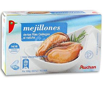 Auchan Mejillones al natural 14/18 piezas Lata de 68 gramos