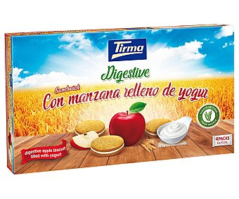 Tirma Galleta sandwich digestive con manzana y yogurt, fuente de fibra Packs de 4 uds. 180 g