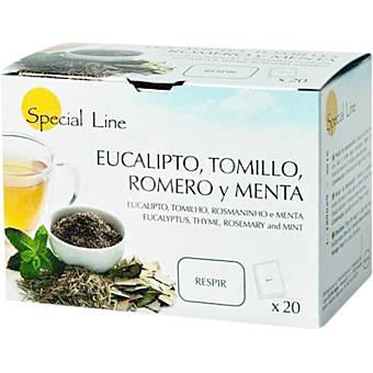 Special Line Infusión respiratoria de eucalipto tomillo romero y menta Estuche 20 bolsitas