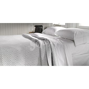 CASACTUAL  Colcha jacquard de rombos en color gris para cama 150 cm 1 unidad